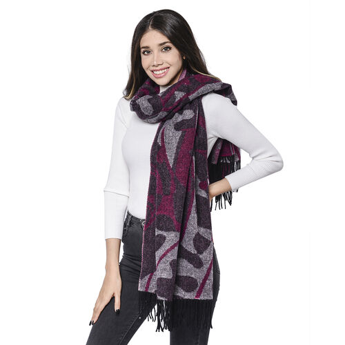 LA MAREY Super Soft 100% Lambswool Jacquard Purple and Grey Abstract Pattern Shawl with Tassels (175x70cm)