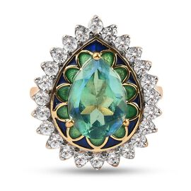 Peacock Triplet Quartz and Natural Cambodian Zircon Enamelled Halo Ring in 14K Gold Overlay Sterling