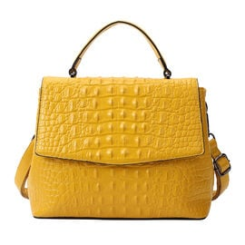 SENCILLEZ Womens Embossed Crocodile Pattern Genuine Leather Convertible Bag with Shoulder Strap - Yellow