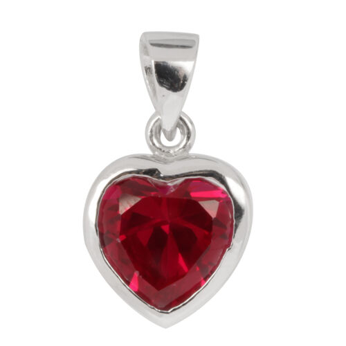 ELANZA AAA Simulated Ruby (Hrt) Solitaire Pendant in Rhodium Plated Sterling Silver