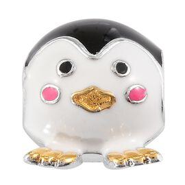 Charmes De Memoire - Platinum and Yellow Gold Overlay Sterling Silver Enamelled Penguin Charm