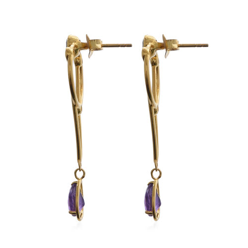 Lusaka Amethyst and Natural Cambodian Zircon Earrings (with Push Back) in Yellow Gold Overlay Sterling Silver 3.14 Ct.