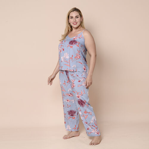 LA MAREY 100% Viscose 3 Piece Red Floral Pattern on Blue Sleepwear Set - Inclds Camisole Top, Elastic Wasitband Pants and Belted Kimono ( Size up to 16 )