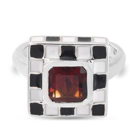 GP Art Deco Collection - Cherry Citrine and Kanchanaburi Blue Sapphire Ring in Platinum Overlay Ster