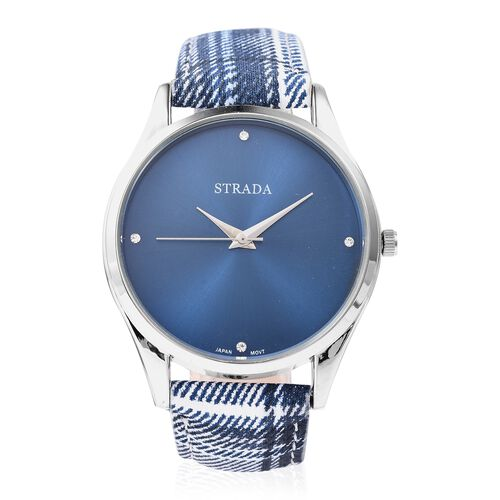 2 Piece Set - Multicolour Checker Pattern Scarf and STRADA Japanese Movement Austrian White Crystal (Rnd) Water Resistant Watch in Stainless Steel with Blue and White Colour Strap and Blue Dial