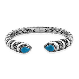 Bali Legacy Collection Arizona Sleeping Beauty Turquoise (Pear) Bangle (Size 7.5) in Sterling Silver 4.270 Ct, Silver wt 31.00 Gms.