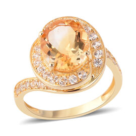 Citrine (Ovl 4.53 Ct), Natural White Cambodian Zircon Ring in Yellow Gold Overlay Sterling Silver 4.