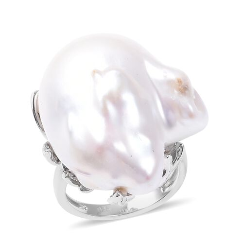 One Time Closeout Deal - Baroque Pearl Ring in Rhodium Overlay Sterling Silver