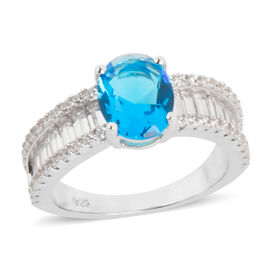 Simulated Blue Topaz (Ovl), Simulated Diamond Ring in Rhodium Overlay Sterling Silver