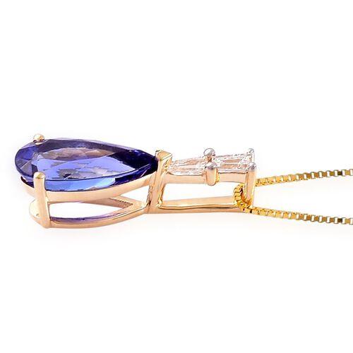 ILIANA AAA Tanzanite (2.00 Ct) and Diamond 18K Y Gold Pendant With Chain  2.150  Ct.