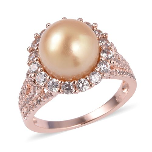 South Sea Golden Pearl (Rnd 11-11.5 mm), Natural Cambodian White Zircon Cocktail Ring in Rose Gold Overlay Sterling Silver