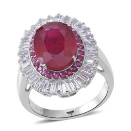 African Ruby (Ovl 8.00 Ct), White Topaz and Burmese Ruby Ring in Rhodium Plated Sterling Silver 11.750 Ct. Silver wt 5.80 Gms.