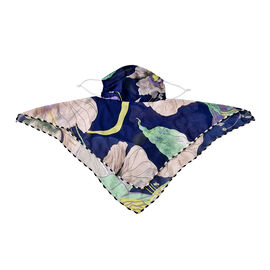 2 in 1 Leaf Pattern Chiffon Soft Feel Scarf and Face Mask (Size 45x45 Cm)