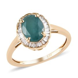 Extremely Rare- 14K Yellow Gold AAA Grandidierite (Oval 8x6mm) and Diamond Ring 1.450 Ct.