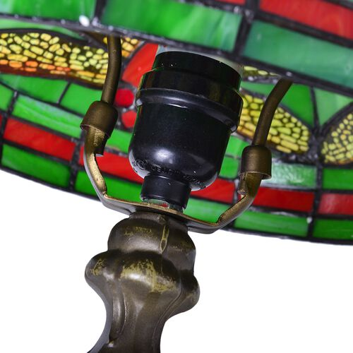 Luxury Edition - Tiffany Style with Stained Glass Green and Multi Colour Mosaic Dragonfly Table Lamp  (Size 25 cm diameter x 40 cm H)