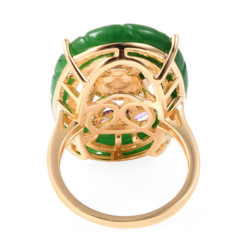 Jardin Collection - Green Jade and Pink Mother of Pearl and Amethyst Ring in Yellow Gold Overlay Sterling Silver 14.06 Ct.