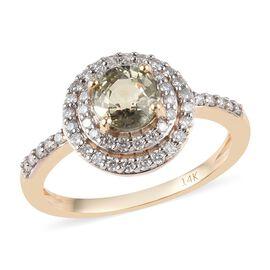 1.32 Ct AAA Narsipatnam Alexandrite and Diamond Halo Ring in 14K Yellow Gold 2.70 Grams I3 GH