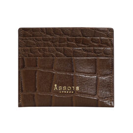Assots London FANN Croc Embossed Genuine Leather RFID Credit Card Holder (Size 10x8.5) - Tan