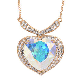 Super Auction- J Francis - Crystal from Swarovski AB Crystal (Hrt 28 mm), White Crystal Heart Necklace (Size 18 with 2 inch Extender) in 14K Gold Overlay Sterling Silver, Silver wt 20.00 Gms