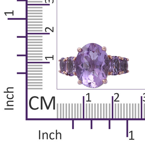 Rose De France Amethyst (Ovl 8.41 Ct) Ring in Rhodium and Rose Gold Overlay Sterling Silver 10.770 Ct.