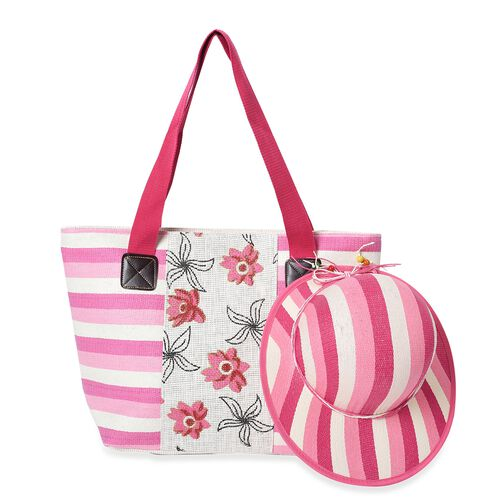 2 Piece Set - Strip and Flower Pattern Tote Bag with Zipper Closure (Size 44x30x14 Cm) and Hat with