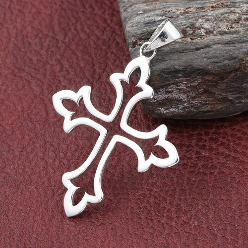 Sterling Silver Fleur De Lis Cross Pendant Silver wt 3.71 Gms.