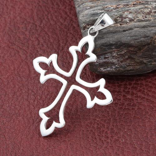 Sterling Silver Fleur De Lis Cross Pendant, Silver wt 3.71 Gms.