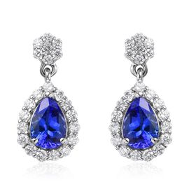 RHAPSODY 950 Platinum AAAA Tanzanite and Diamond (VS/E-F) Drop Earrings (with Screw Back) 2.00 Ct.