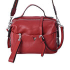 100% Genuine Leather Red Colour Crossbody Bag with Extrernal Zipper Pocket (Size 26x12x20 Cm)