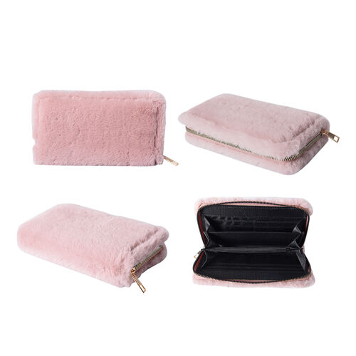 Dusty Pink Faux Fur Clutch Wallet (Size 19.5x3x9.5cm) with Zipper Closure in Gold Tone