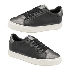 RAVEL Pearl Lace-Up Trainers (Size 3) - Black & Pewter
