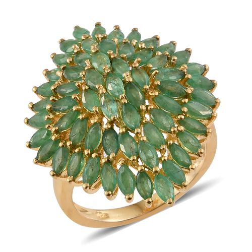 4.5 Ct Zambian Emerald Cluster Ring in Gold Plated Sterling Silver 5.44 Grams