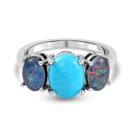 Arizona Sleeping Beauty Turquoise and Boulder Opal Triplet 3 Stone Ring in Platinum Overlay Sterling