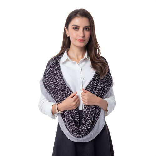 Black and Grey Colour Pattern Reversible Infinity Scarf (Size 73x24 Cm)
