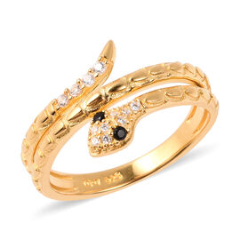 ELANZA Simulated Diamond Snake Ring in Yellow Gold Plated Sterling Silver