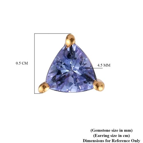 Tanzanite Trillion Solitaire Stud Silver Earrings (with Push Back) in 14K Gold Overlay Sterling Silver 0.750 Ct.