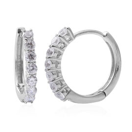 ELANZA Simulated Diamond (Rnd) Hoop Earrings in Rhodium Overlay Sterling Silver