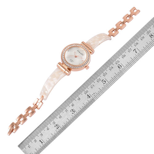 STRADA Japanese Movement White Austrian Crystal Studded White Dial Watch in Rose Gold Tone with Stainless Steel Back and White Colour Strap