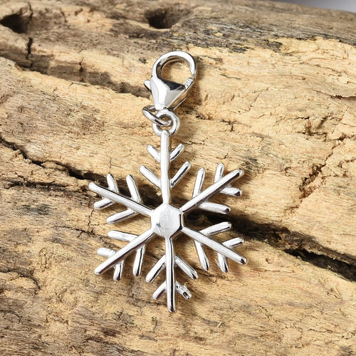 Snowflake Charm Pendant in Platinum Plated 925 Sterling Silver