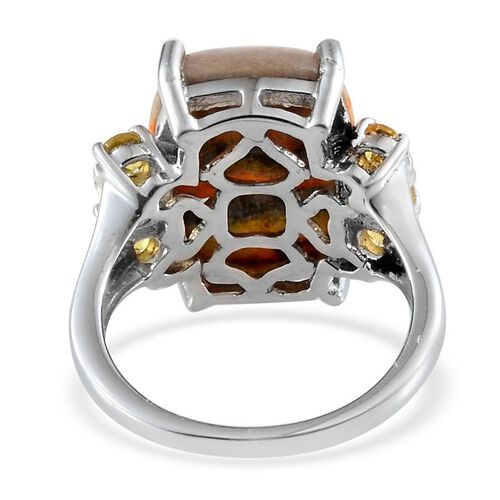 Bumble Bee Jasper (Cush 9.25 Ct), Yellow Sapphire Ring in Platinum Overlay Sterling Silver 10.000 Ct.