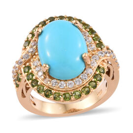 6.5 Ct AA Sleeping Beauty Turquoise Halo Ring in Gold Plated Sterling Silver 6 Grams