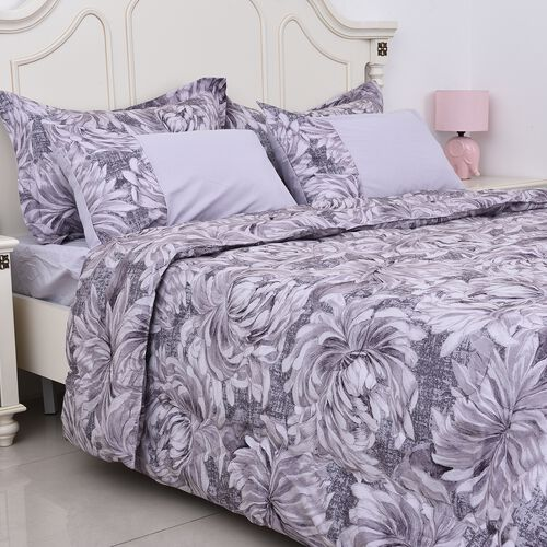 Set of 6 - Chrysanthemum Pattern Summer Duvet, Fitted Sheet, 2 Oxford and 2 Standard Pillow Case (Size Double) - Light Purple and Light Grey