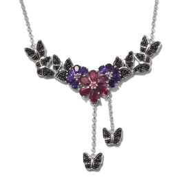 GP African Ruby (Pear), Amethyst, Boi Ploi Black Spinel and Kanchanaburi Blue Sapphire Necklace (Size 18) in Platinum Overlay Sterling Silver 6.250 Ct, Silver wt 14.00Gms, Number of Gemstone 112.