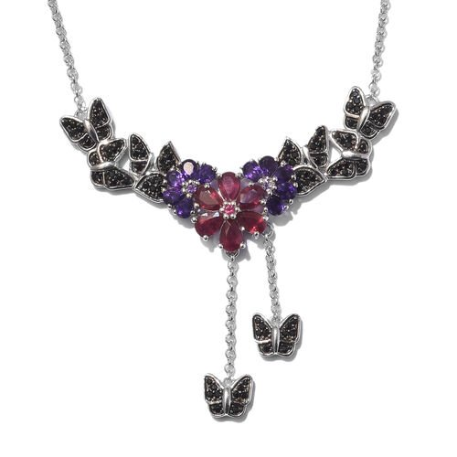 GP African Ruby (Pear), Amethyst, Boi Ploi Black Spinel and Kanchanaburi Blue Sapphire Necklace (Siz