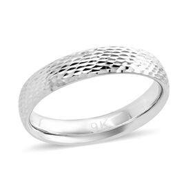 Royal Bali Diamond Cut Band Ring in 9K White Gold