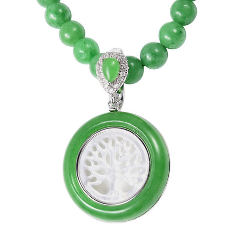 Tree of Life Carved White Mother of Pearl, Green Jade and Simulated Diamond Beads Necklace (Size 18) in Rhodium Overlay Sterling Silver 159.17 Ct, Silver wt 4.90 Gms