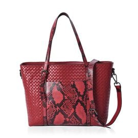 100% Genuine Leather Snake Print and Quilted Pattern Tote Bag with Detachable Shoulder Strap and Zip