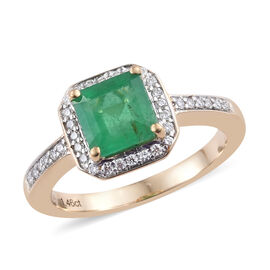 ILIANA 18K Yellow Gold Boyaca Colombian Emerald (Oct), Diamond  Ring 1.680 Ct.