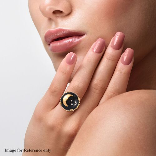 GP - Black Jade, Natural Cambodian Zircon and Blue Sapphire Crescent Moon and Star Ring in 14K Gold Overlay Sterling Silver 17.95 Ct.