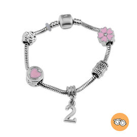 Children Happy 2 Birthday Charms Bracelet in White Austrian Crystal Size 6.5 with Silver Tone